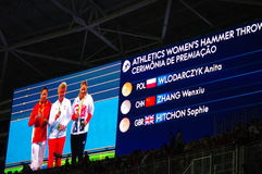 Athletics Women's Hammer throw at Rio2016. Medal ceremony displayed at Olympic Stadium for Athletics Women's Hammer throw during Rio2016 Olympics. Picture taken stock photos