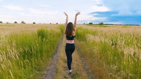 Athletics young woman walking on the country road in beautiful field. outdoors fitness. shot with steadicam stock footage