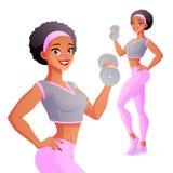 Athletische Frau, die mit Dummkopf trainiert Getrennte vektorabbildung lizenzfreie abbildung