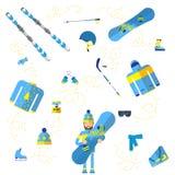 Athletische Mannstellung umgeben durch Wintersportausrüstung und Holding snowdoard lizenzfreie abbildung