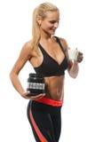 Athletische schöne lächelnde Blondine mit Lizenzfreie Stockfotos