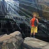 Athletischer Mann der Karikatur steht auf einem Felsen neben einem enormen Wasserfall Lizenzfreies Stockbild