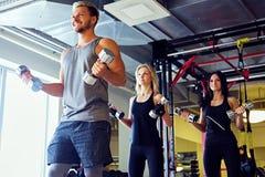 Athletischer Mann und zwei dünne weibliche Eignungsmodelle, die Schulterübungen mit Dummköpfen tun Lizenzfreies Stockfoto