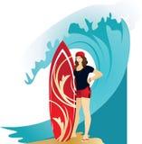 Athletisches brunette Mädchen in den roten kurzen Hosen vektor abbildung