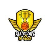 Athletisches christliches Logo Goldschild und -becher, Flügel und Basketball Emblem für Wettbewerb, Ministerium, Konferenz, Lager vektor abbildung