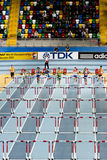 Athletism. Athletes are competing during 60m hurdles in IAAF World Indoor Championship 2012, Istanbul, on March 10, 2012 Royalty Free Stock Photography