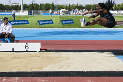 Athletism. Istanbul, Turkey - September 19, 2015: British athlete British athlete Robinson-Pascal Jamiyla is in the air for her long jump attempt European Stock Images