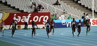 Athlets on the 200 meters final Stock Images