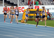 Athlets compete in the 800 meters race Stock Photo