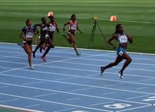 Athlets en los 200 contadores finales Imagen de archivo