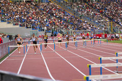 Athlets. 400 m fence woman race on Diamond League in Rome, Italy in 2016 royalty free stock image