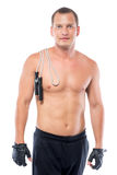 athlète avec le sein nu et corde sur une épaule Images libres de droits