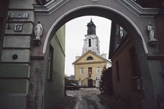 Atholic kyrka för härlig forntida Ñ- i Vilnius royaltyfri bild