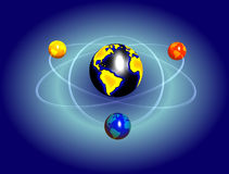 Athom sign with earth rotating. Abstract earth faking atom motion/sign and creating routes Stock Image