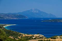 Athon island and greek beaches. Athon island and beaches in greek resorts royalty free stock photography