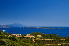 Athon island and greek beaches. Athon island and beaches in greek resorts royalty free stock image