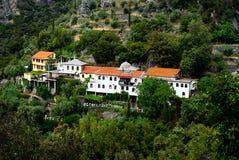 athos monterar den traditionella byn Royaltyfria Bilder