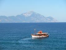 Athos mountain and sea stock photo