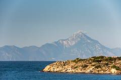 Athos Mountain sikt i Grekland Royaltyfria Foton