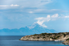 Athos Mountain view in Greece. Sea landscape, Athos Mountain in the background, Sithonia, Greece Stock Images
