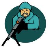 Atirador furtivo Aiming com desenhos animados da arma do rifle Imagens de Stock