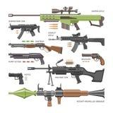 Atire na arma do vetor ou no revólver militar do exército e guerreie arma de fogo automática ou rifle com o grupo da ilustração d ilustração royalty free