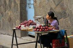atitlan果子危地马拉出售妇女的圣地亚哥 免版税图库摄影