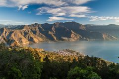 Atitlan lake in Guatemala. The closest village is San Pedro, picture taken from San Pedro volcan. O royalty free stock images