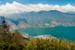 Atitlan lake in Guatemala. The closest village is San Pedro, picture taken from San Pedro volcan. O royalty free stock photography
