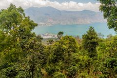 Atitlan lake in Guatemala. The closest village is San Pedro, picture taken from San Pedro volcan. O stock photography