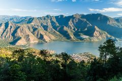 Atitlan lake in Guatemala. The closest village is San Pedro, picture taken from San Pedro volcan. O royalty free stock photo