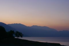 atitlan tidig lakemorgon Fotografering för Bildbyråer
