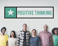 A atitude bem escolhida de pensamento positiva inspira o conceito do foco Imagens de Stock