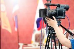 Atividade da gravação de vídeo do fotógrafo imagem de stock