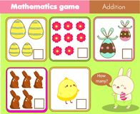 Atividade da Páscoa Contando o jogo educacional das crianças Atividade da matemática para crianças e crianças Quantos objetos Mat ilustração royalty free