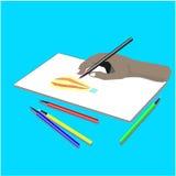 Atividade de tiragem do vetor usando um lápis ilustração stock