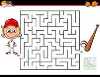 Atividade do labirinto dos desenhos animados com menino e basebol Foto de Stock