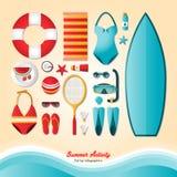 Atividade do verão, infographics liso da configuração Imagens de Stock Royalty Free