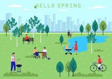 Atividade dos povos no parque, no feriado e no lazer da mola ilustração royalty free