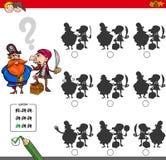 Atividade educacional do jogo da sombra com piratas Imagem de Stock