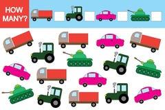 Atividade para crianças Jogo educacional, quantos transportes? ilustração do vetor