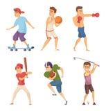 Atividades diferentes dos esportes Desportistas em poses da ação Grupo do trabalho do vetor characters ilustração royalty free