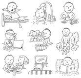 Atividades diárias do homem dos desenhos animados Foto de Stock Royalty Free