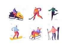 Atividades do esporte de inverno com caráteres Esquiador exterior dos povos, Snowboarder, skater de gelo, hóquei imagem de stock royalty free