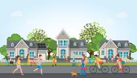 Atividades dos povos na vila moderna ilustração do vetor