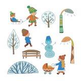 Atividades exteriores do inverno Elementos da cena do inverno dos desenhos animados foto de stock royalty free