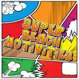 Atividades super da praia - palavras do estilo da banda desenhada ilustração royalty free