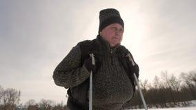 Ativo uma mulher idosa contratada no passeio nórdico com as varas no conceito saudável do estilo de vida da floresta do inverno m vídeos de arquivo