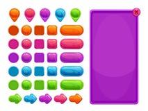 Ativos abstratos coloridos bonitos para o jogo ou o design web Imagem de Stock