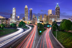 ATL at Freedom Parkway. Atlanta, Georgia, USA downtown city skyline over Freedom Parkway stock photos